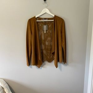 NWT Lace Back Suede Cardigan - Size Small